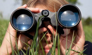 Looking through binoculars